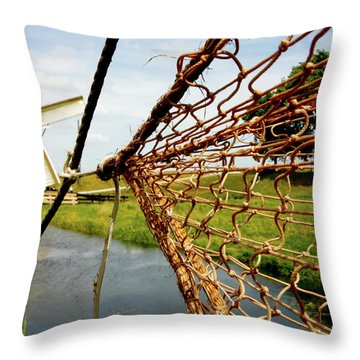 Throw Pillow featuring the photograph Enkhuizen Windmill And Nets by KG Thienemann