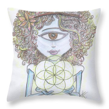 Throw Pillow featuring the drawing Enlightened Alien by Similar Alien