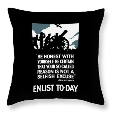 Enlist To-day - Lord Kitchener  Throw Pillow by War Is Hell Store