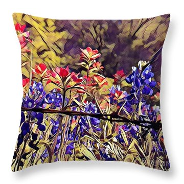 Throw Pillow featuring the photograph Ennis Bluebonnents by Diane Miller