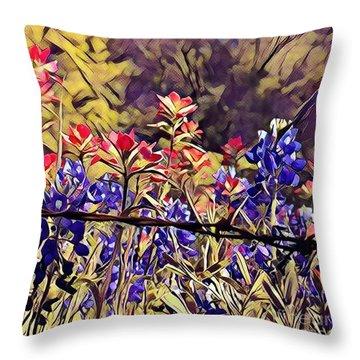 Ennis Bluebonnents Throw Pillow by Diane Miller