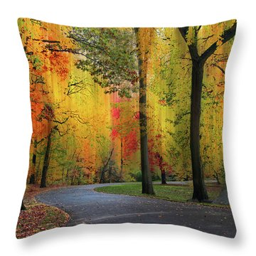 Throw Pillow featuring the photograph  Ensconced In Autumn by Jessica Jenney
