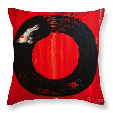 Enso With Koi Red And Gold Throw Pillow