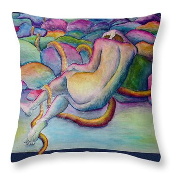 Entangled Figure With Rocks Throw Pillow by Nancy Mueller