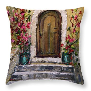 Throw Pillow featuring the painting Enter Here by Jennifer Beaudet