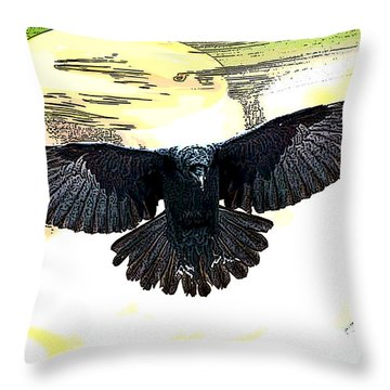 Enter The Raven Throw Pillow by Tbone Oliver