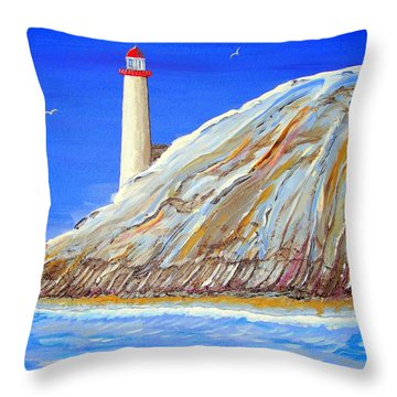 Throw Pillow featuring the painting Entering The Harbor by J R Seymour