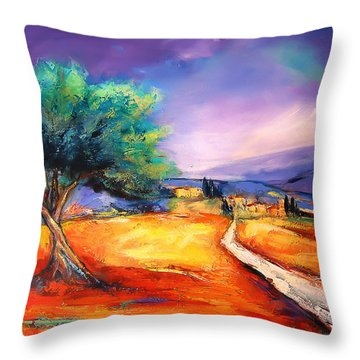 Entering The Village Throw Pillow