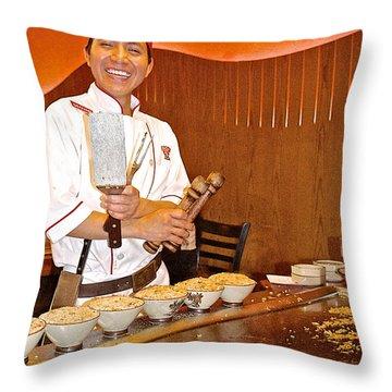 Entertaining Chef At Benihana In Monterey-california Throw Pillow