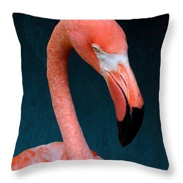 Entirely Unimpressed Flamingo Throw Pillow