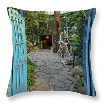 Entrance Door To The Artist Throw Pillow by Yoel Koskas