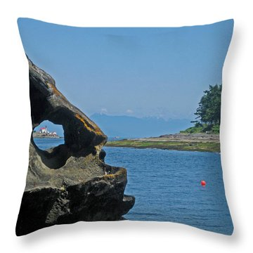 Entrance Island Lighthouse Through A Rock Window Throw Pillow by Anne Havard