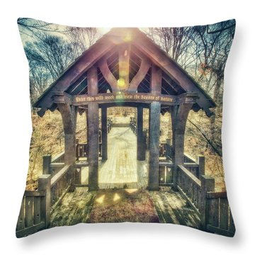 Throw Pillow featuring the photograph Entrance To 7 Bridges - Grant Park - South Milwaukee  by Jennifer Rondinelli Reilly - Fine Art Photography