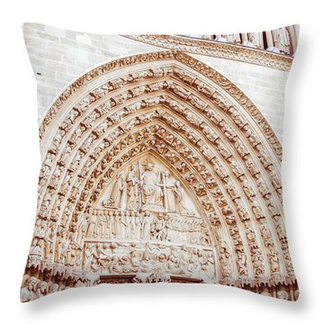 Entrance To Notre Dame Cathedral Throw Pillow