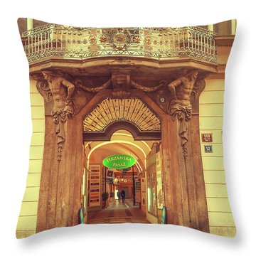 Throw Pillow featuring the photograph Entrance To Passage. Series Golden Prague by Jenny Rainbow