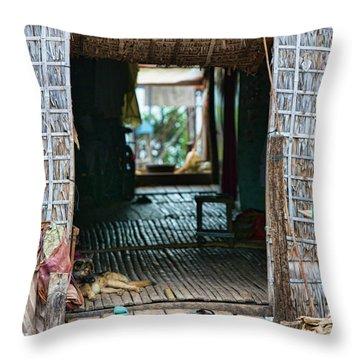 Entrance To Tonle Sap Home  Throw Pillow