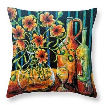 Entwining Poppies Throw Pillow