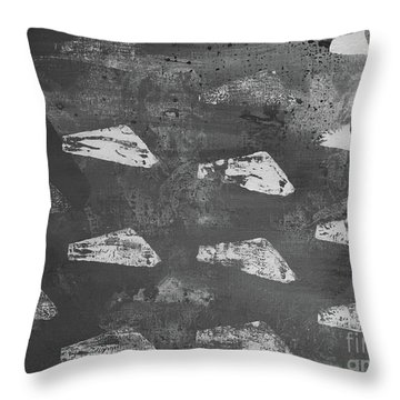 Throw Pillow featuring the painting Eoliths Grayscale by Robin Maria Pedrero