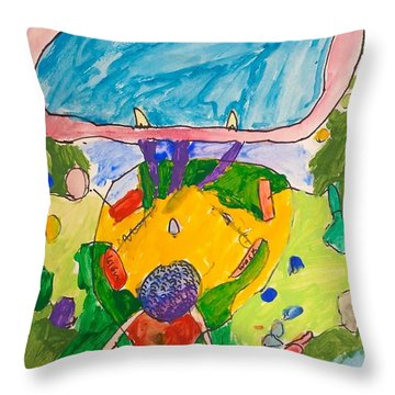 Throw Pillow featuring the painting Epcot by Artists With Autism Inc