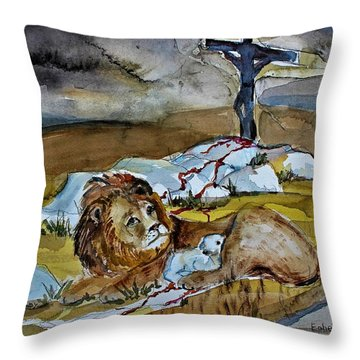 Throw Pillow featuring the painting Ephesians 2 13 by Mindy Newman