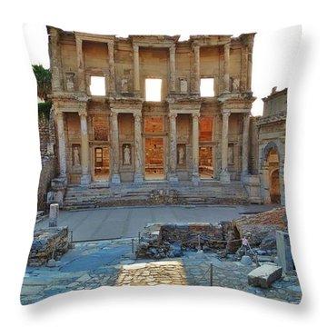 Ephesus Library Throw Pillow