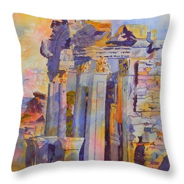 Ephesus Ruins Throw Pillow by Warren Thompson