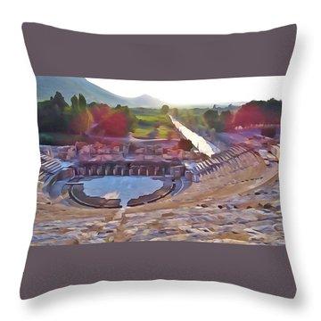 Ephesus Theater Throw Pillow