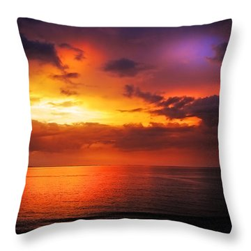 Epic End Of The Day At Equator Throw Pillow by Jenny Rainbow