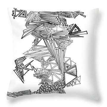 Epitaxy Ink Drawing By Regina Valluzzi Throw Pillow