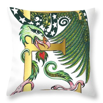 Epsilon Eagle In Green And Digital Gold Throw Pillow by Melinda Dare Benfield