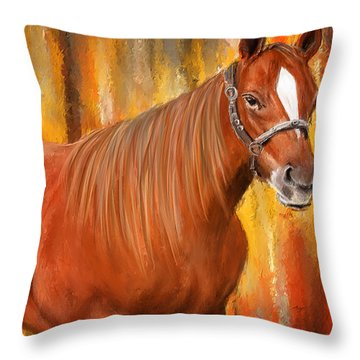 Equine Prestige - Horse Paintings Throw Pillow