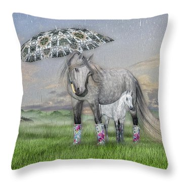Equine Sleepy Spring Showers Throw Pillow