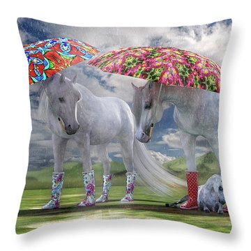 Equine Spring Showers Throw Pillow