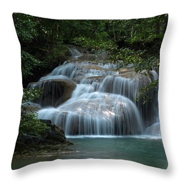 Erawan Falls First Falls Throw Pillow