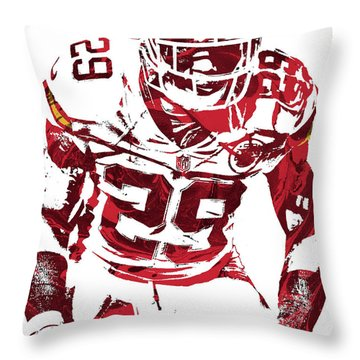 Throw Pillow featuring the mixed media Eric Berry Kansas City Chiefs Pixel Art 2 by Joe Hamilton