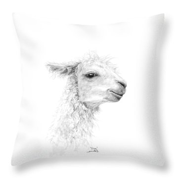 Throw Pillow featuring the drawing Erica by K Llamas