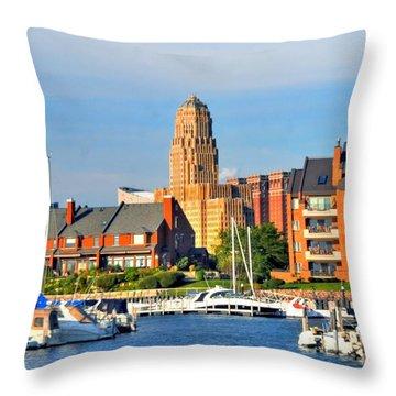 Erie Basin Marina Throw Pillow by Kathleen Struckle