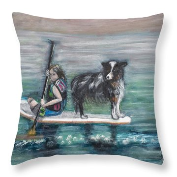 Erin And Oakie On The Paddle Board Throw Pillow