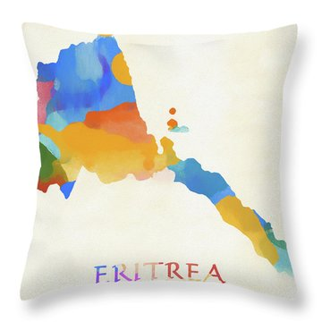Eritrea Watercolor Map Throw Pillow