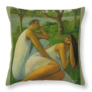 Throw Pillow featuring the painting Eros And Rhea by Glenn Quist