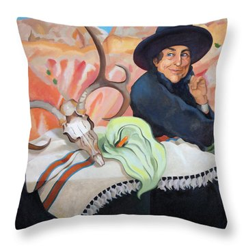 Eros, Thanatos And Georgia O'keeffe Throw Pillow