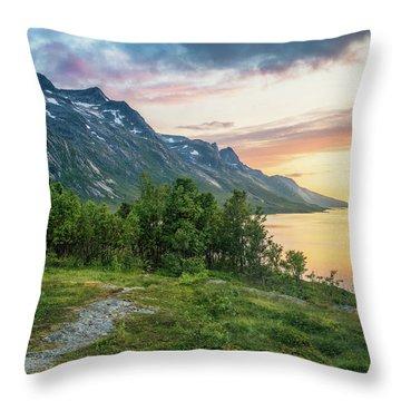 Ersfjord Sunset Throw Pillow
