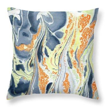 Throw Pillow featuring the painting Erupting Lava by Menega Sabidussi