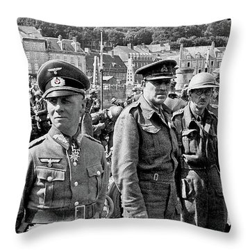 Erwin Rommel And Captured British Soldiers Tobruck Libya 1942 Color Added 2016  Throw Pillow