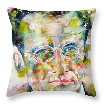 Throw Pillow featuring the painting Erwin Schrodinger - Watercolor Portrait by Fabrizio Cassetta