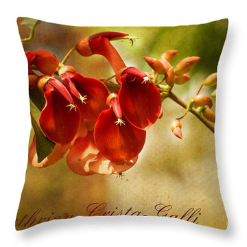 Erythrina Crista-galli Throw Pillow by MaryJane Armstrong