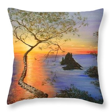 Es Vedra Island Off Ibiza South Coast Throw Pillow by Lizzy Forrester