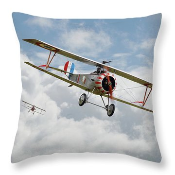 Throw Pillow featuring the photograph Escadrille Lafayette - Hunters by Pat Speirs