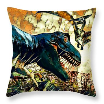 Escape From Jurassic Park Throw Pillow