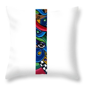 Colorful Abstract Art Painting, Modern Art Brown Eye Art Paintings Throw Pillow